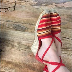 Spanish Espadrilles Elena Solano Wedge Ankle Tie